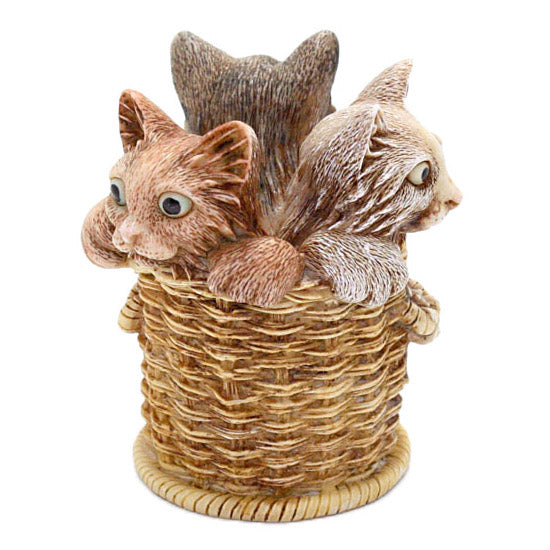 harmony kingdom wicker and whisker kittens in basket view 3