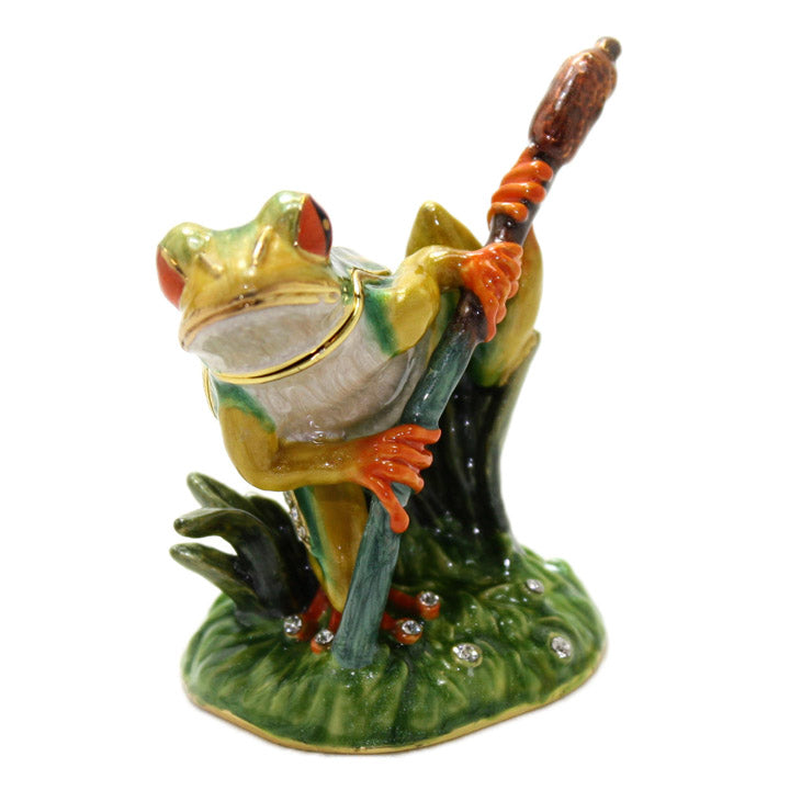 bejeweled frog on cattail trinket box