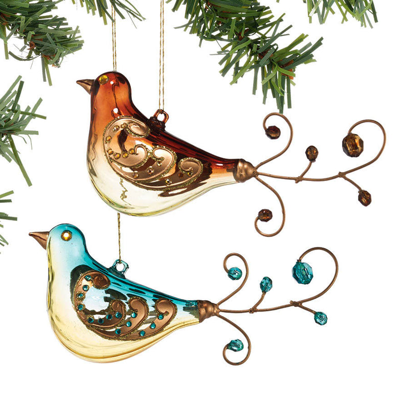 dept 56 brown and blue jeweled bird ornaments