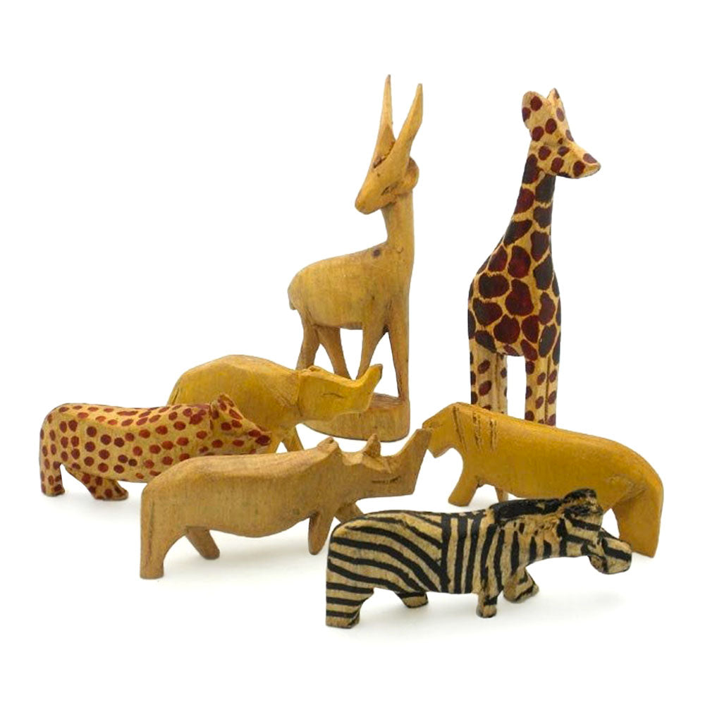 african carved wood safari animal figurine set