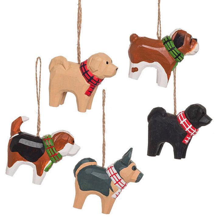 carved wood dogs in plaid scarves ornaments