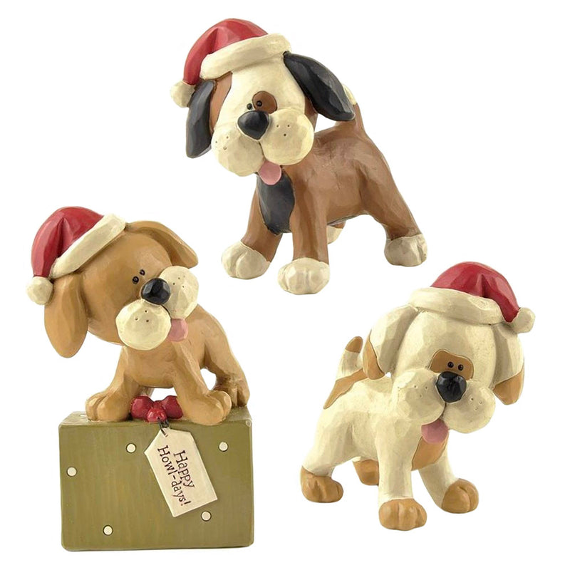 blossom bucket dogs in santa hats figurines
