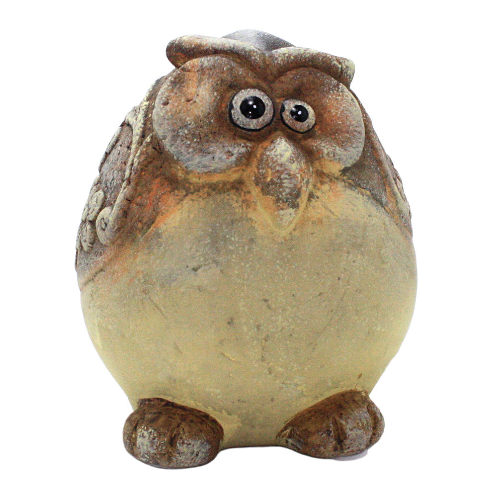 ceramic chubby yellow owl figurine