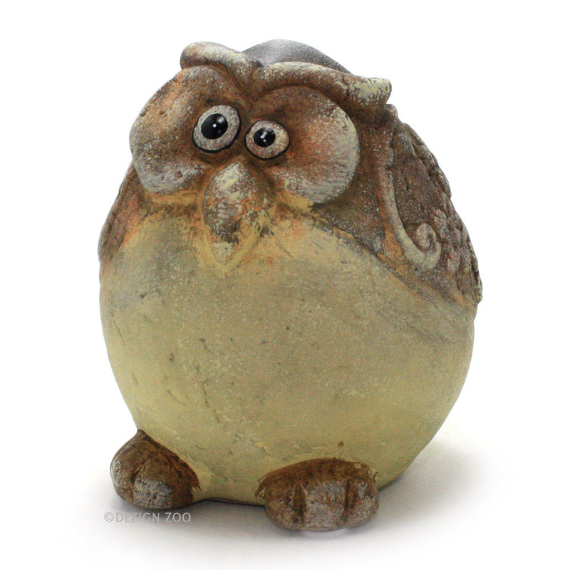 ceramic chubby yellow owl figurine left side view