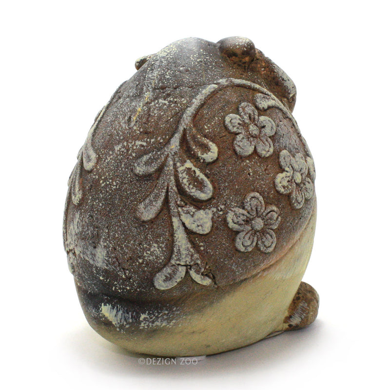 ceramic chubby yellow owl figurine back view