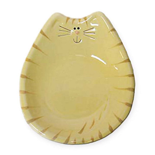 ceramic yellow tiger cat feeding dish