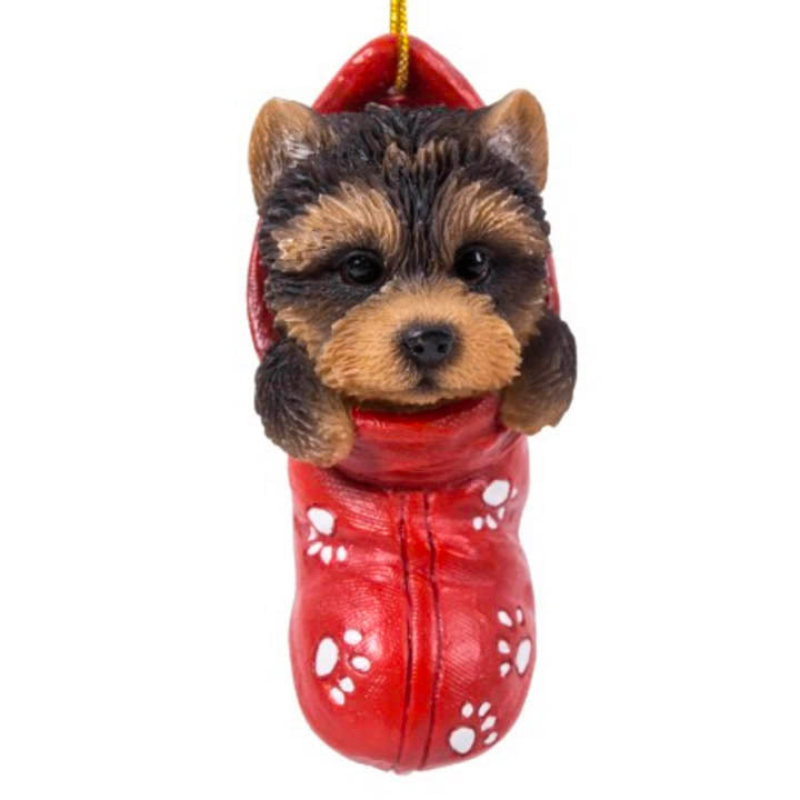 yorkshire terrier in stocking ornament