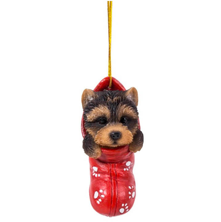 yorkie dog in stocking christmas ornament