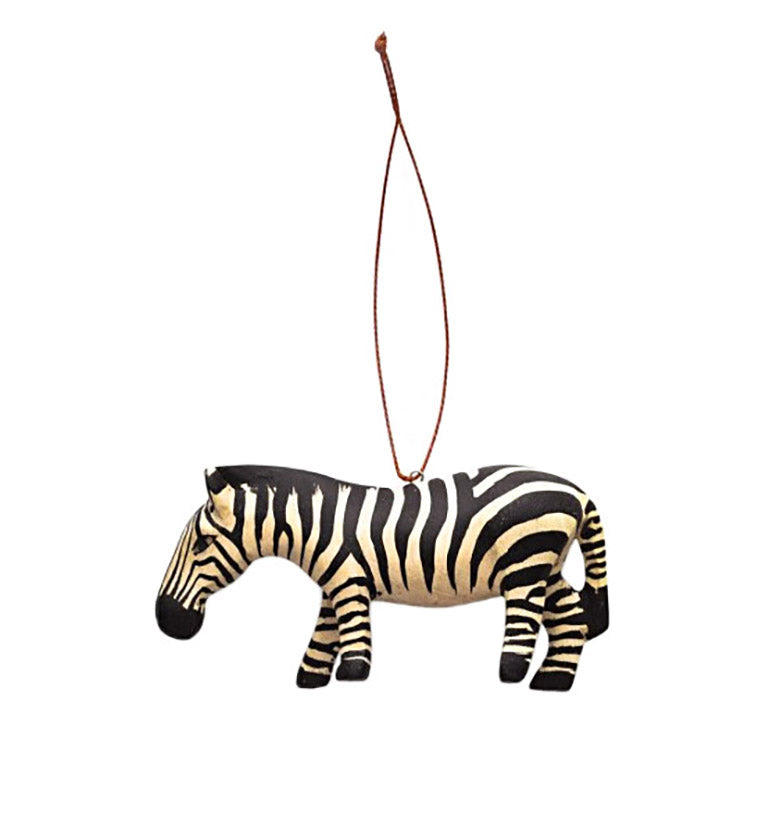hand carved wood zebra ornament