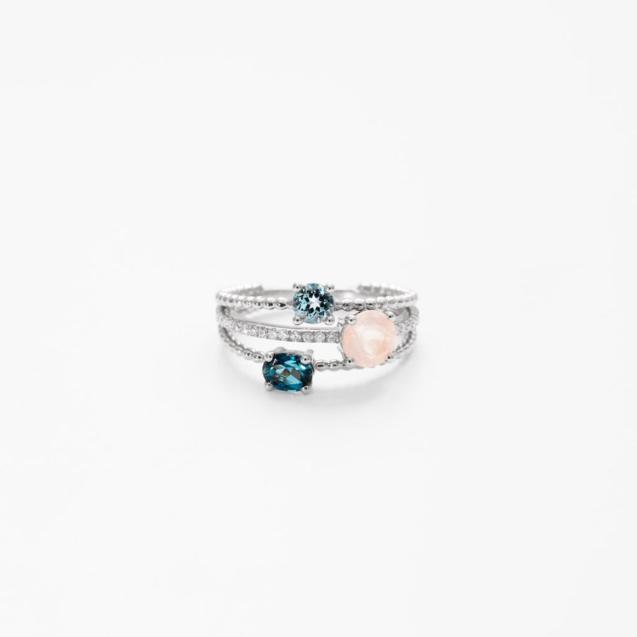 Bague Alma quartz roses, topazes et diamants