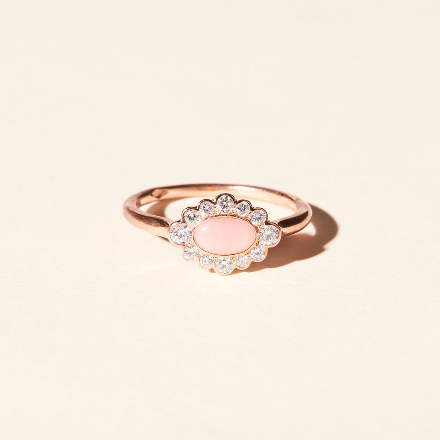Bague Jacinthe opale rose et diamants