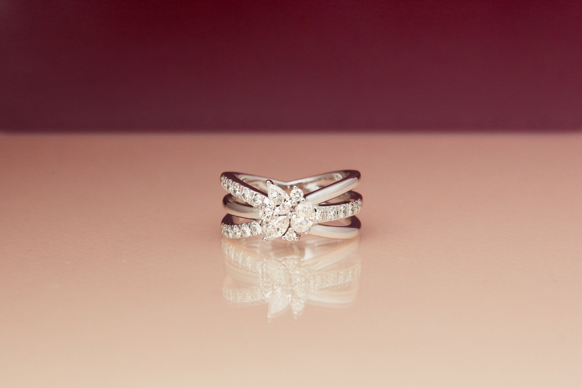 Prey Wedding Ring.Solitaire Bouquet Ring