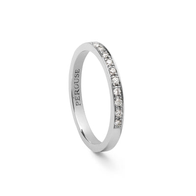 Alliance en diamants serti filet COSMOS - Or blanc 18 cts