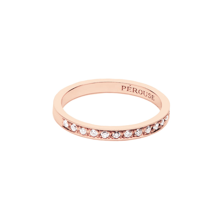 Alliance en diamants serti filet COSMOS - Or rose 18 cts