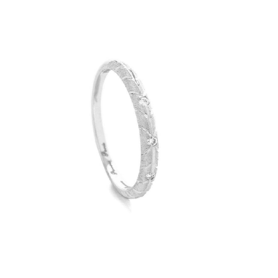 Alliance BANYAN avec 3 diamants ronds - Or blanc 18 cts