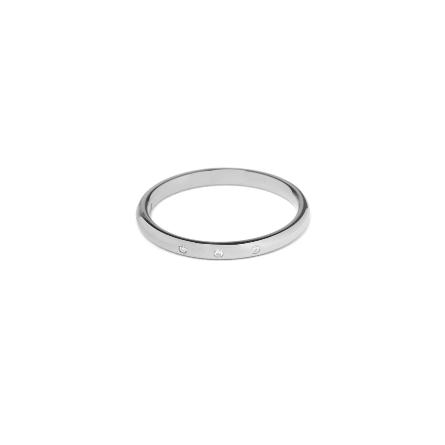 Alliance Roseau 3 diamants ronds 2mm - Platine