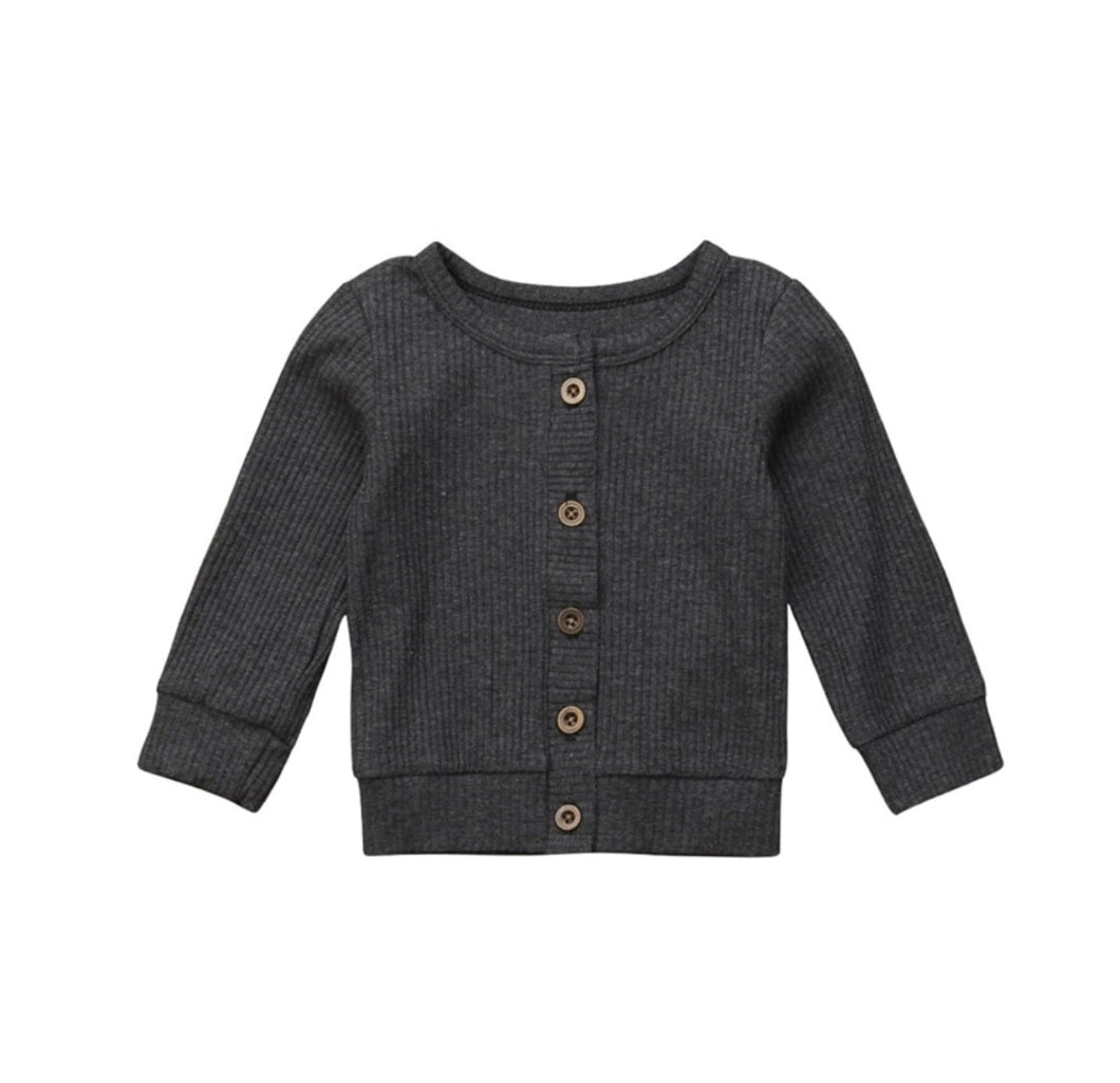 Knit Sweater Cardigan | Charcoal