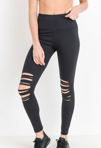 Distressed Laser Cut Knee Leggings