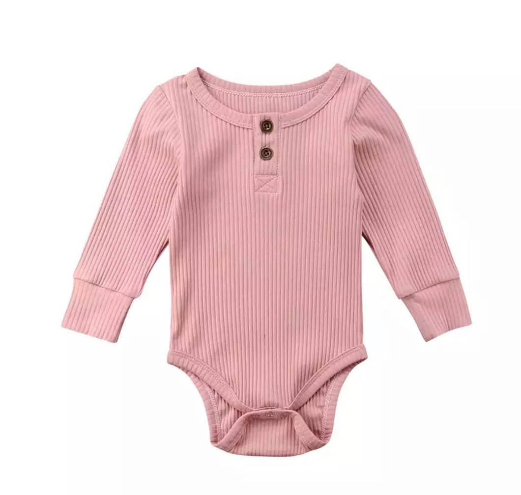 Long Sleeved Ribbed Onesie | Soft Pink