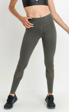 Olive Legging with Mesh Insert