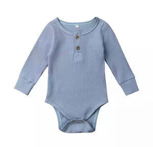 Long Sleeve Ribbed Onesie | Blue