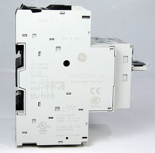 General Electric Motor Circuit Breaker GPS1BHAJ + GPAC20LLA + GPAC02LRA 6.3A