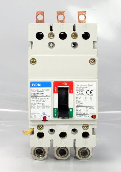 Eaton Circuit Breaker Series G Type GEE GEE3160AFM 3 Pole 125-160A