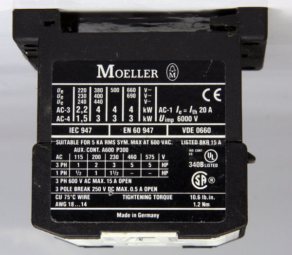 Moeller Contactor DILEM4-G 24VDC 20A 4kW 5Hp