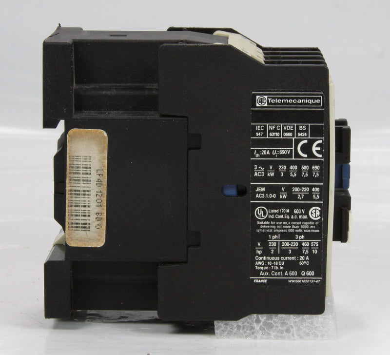 Telemecanique Contactor LP4D1201 24V BD 4 Pole 20A 7.5kW 10Hp