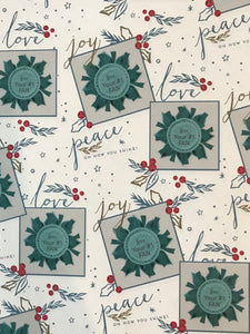Peace, Love, & Joy! Oh how you shine!- White Wrapping Paper