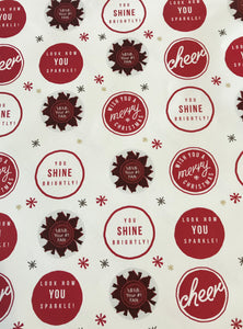 Wishing you a Merry Christmas! You Shine Brightly- White & Red Wrapping Paper
