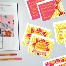 "Load image into Gallery viewer, Classic ""Sunshine"" Collection I #ShineItForward 8-Pack Stationery Set"
