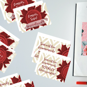 "Crimson & Pearl White ""Sister"" Collection #ShineItForward 8-Pack Stationery Set"