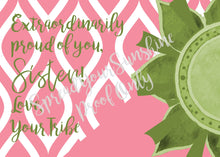 "Load image into Gallery viewer, Rose Pink & Green ""Sister"" Collection #ShineItForward Individual Stationery Set"