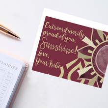 "Load image into Gallery viewer, Garnet & Gold ""Sunshine"" Collection Individual Stationery Card"