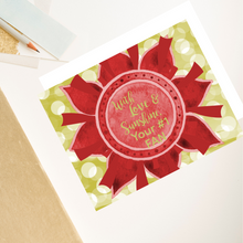 "Load image into Gallery viewer, Scarlet Red & Olive Green ""Sister"" Collection Individual Stationery Card"