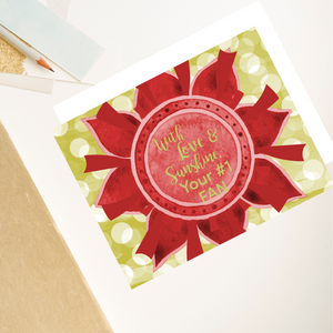 "Scarlet Red & Olive Green ""Sister"" Collection Individual Stationery Card"