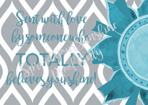 "Teal & Gray ""Sister"" Collection #ShineItForward 4-Pack Stationery Set"