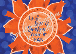 With Love & Sunshine, Your #1 FAN - Blue & Orange Individual #ShineItForward Stationary Set
