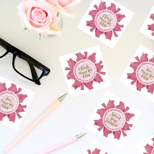 "Rose Pink & Green ""Sister"" Collection Envelope Seals"