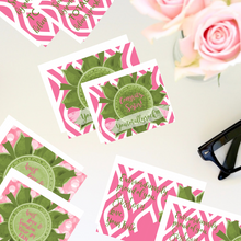 "Load image into Gallery viewer, Rose Pink & Green ""Sister"" Collection #ShineItForward 8-Pack Stationery Set"