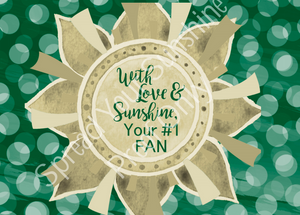 "Green & Gold ""Sunshine"" Collection Individual 5x7 Stationery Card"