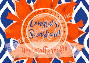 "Blue & Orange ""Sunshine"" Collection Traditional Stationery Set"