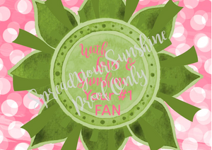 "Rose Pink & Green ""Sister Collection Individual Stationery Card"