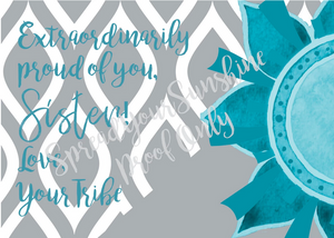 "Teal & Gray ""Sister"" Collection Individual 4x6 Stationery Card"