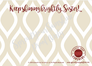 "Crimson & Pearl White ""Sister"" Collection Individual Stationery Card"