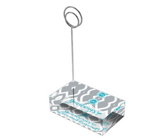 "Teal & Gray ""Sister"" Collection Tall Card Holders"