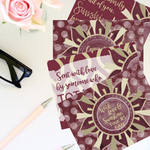 "Load image into Gallery viewer, Garnet & Gold ""Sunshine"" Collection Traditional Stationery Set"