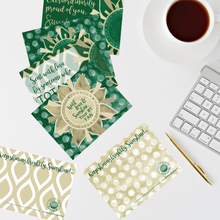"Load image into Gallery viewer, Green & Gold ""Sunshine"" Collection Traditional Stationery Set"