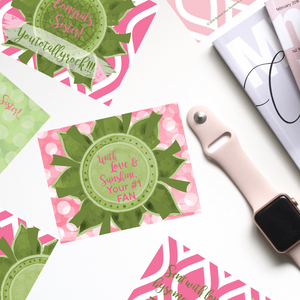 "Rose Pink & Green ""Sister"" Collection Traditional Stationery Set"